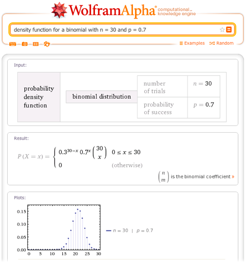 Density function for a binomial with n = 30 and p = 0.7