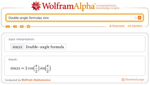 Double-angle formulas sinx