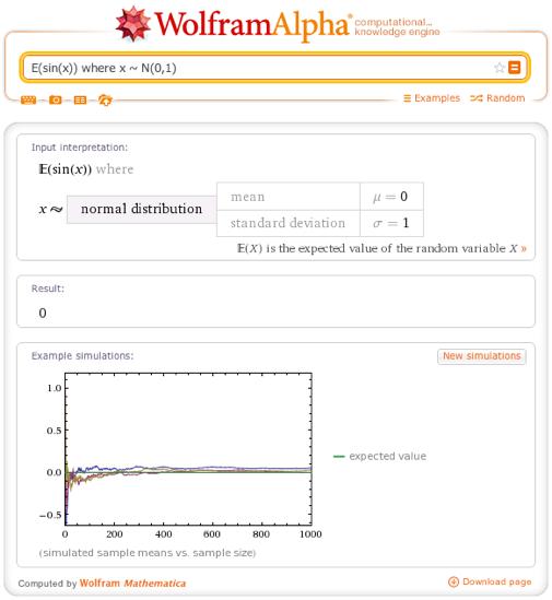 E(sin(x)) where x ~ N(0,1)