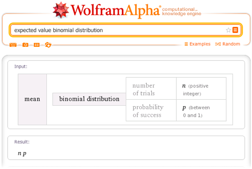 Expected value binomial distribution