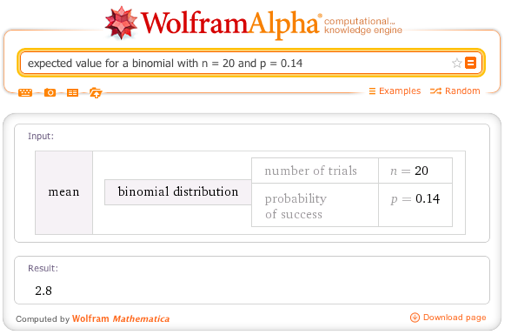 Expected value for a binomial with n = 20 and p = 0.14