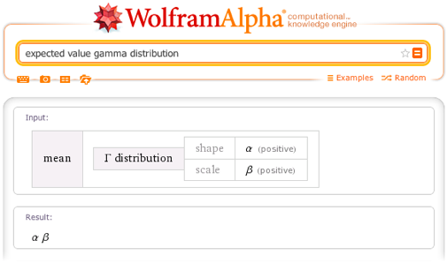 Expected value gamma distribution