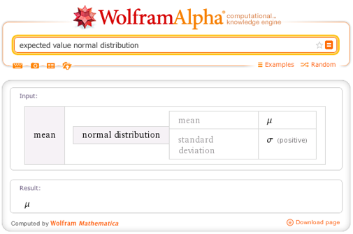 Expected value normal distribution