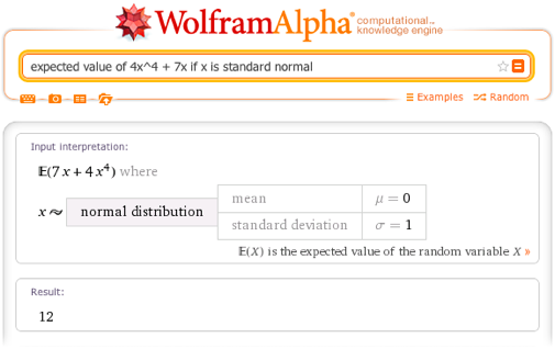 Expected value of 4x^4 + 7x if x is standard normal