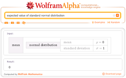 Expected value of standard normal distribution