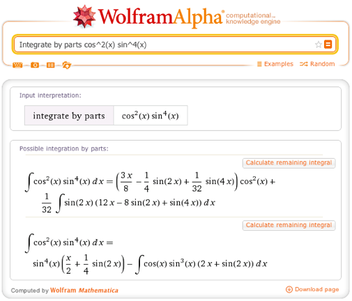 Integrate by parts cos^2(x) sin^4(x)