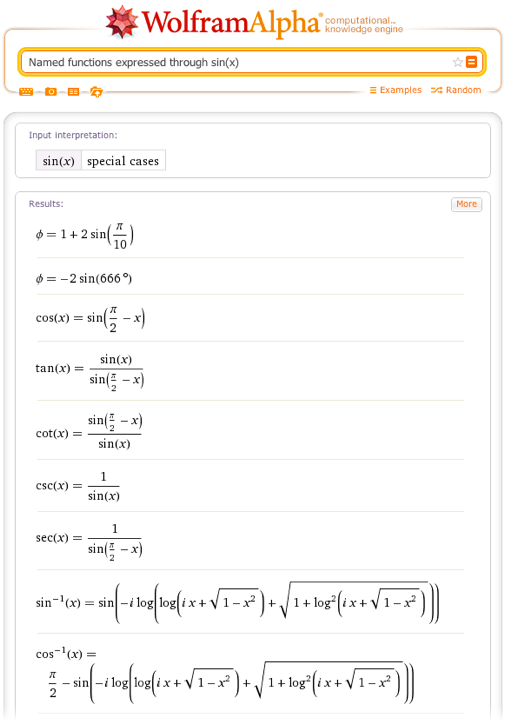 Named functions expressed through sin(x)