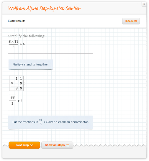 Wolfram|Alpha Step-by-step solution