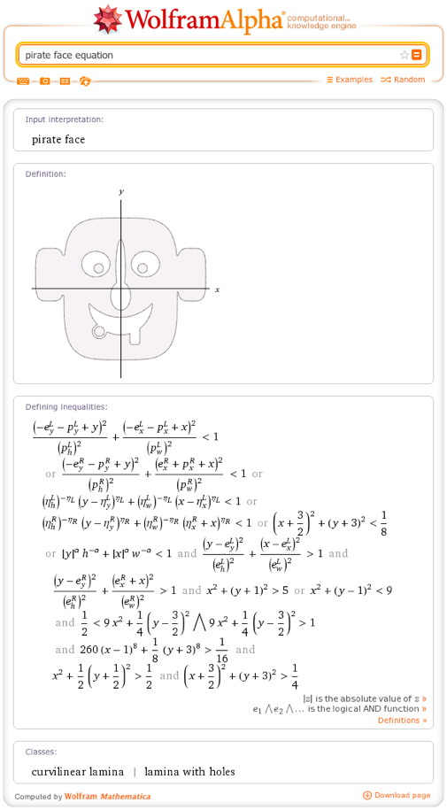 pirate face equation