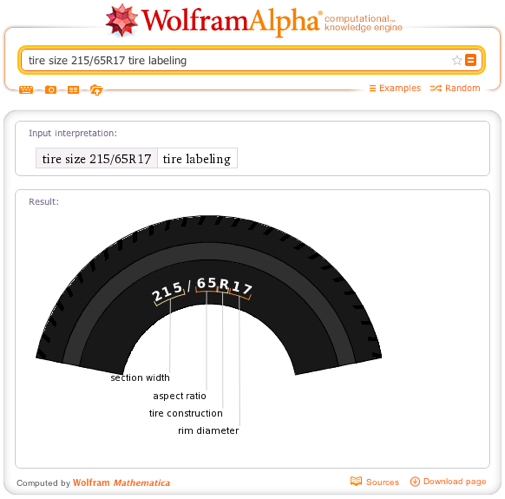 tire size 215/65R17 tire labeling