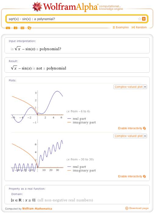 sqrt(x) - sin(x) : a polynomial