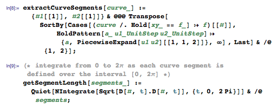 extractCurveSegments and getSegmentLength