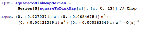 Series approximation for squareToDiskMap