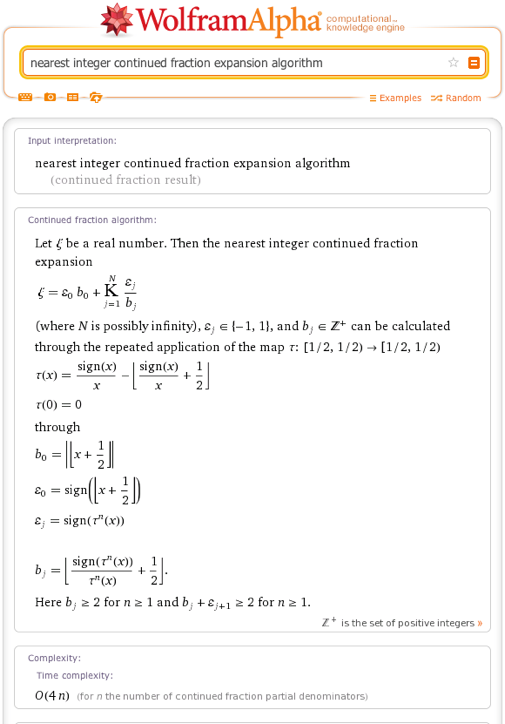 nearest integer continued fraction expansion algorithm