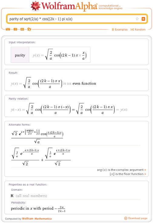 parity of sqrt(2/a) * cos((2k - 1) pi x/a)