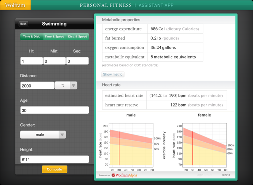 Wolfram Person Fitness Assistant App