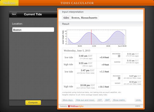 Wolfram Tides Calculator Reference App