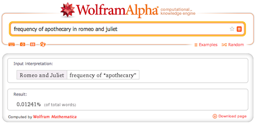 frequency of apothecary in Romeo and Juliet