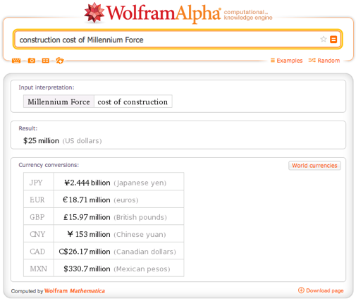 Construction cost of Millennium Force