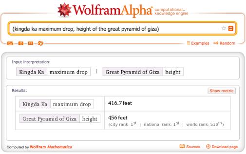 Kingda Ka maximum drop, height of the Great Pyramid of Giza