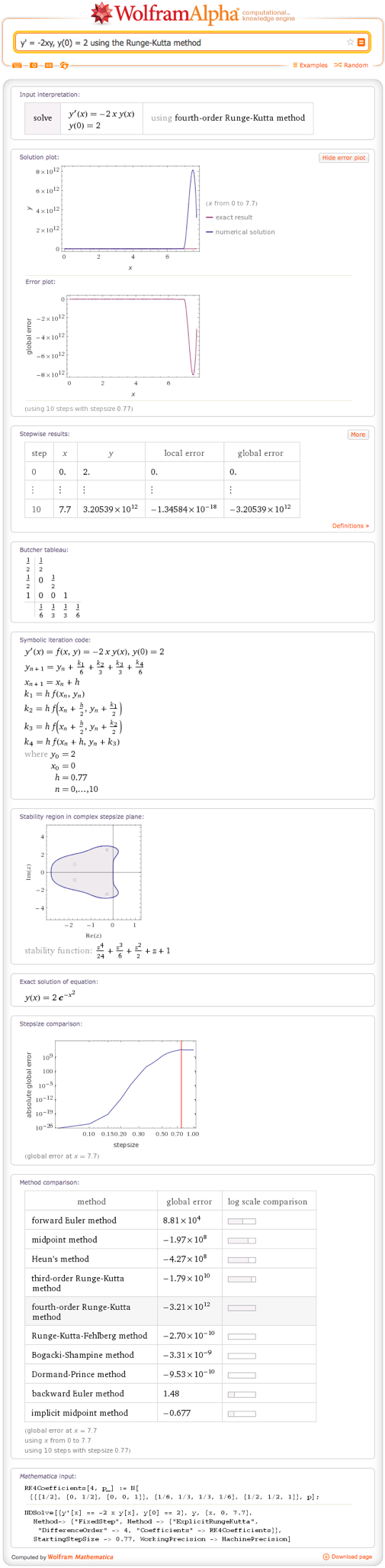y' = -2xy, y(0) = 2 using the Runge-Kutta method
