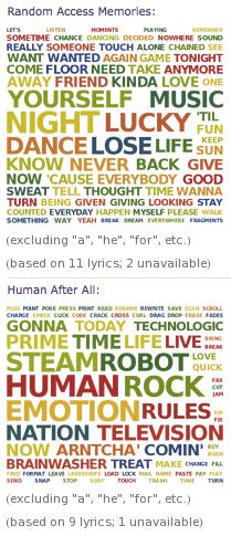Daft Punk word cloud