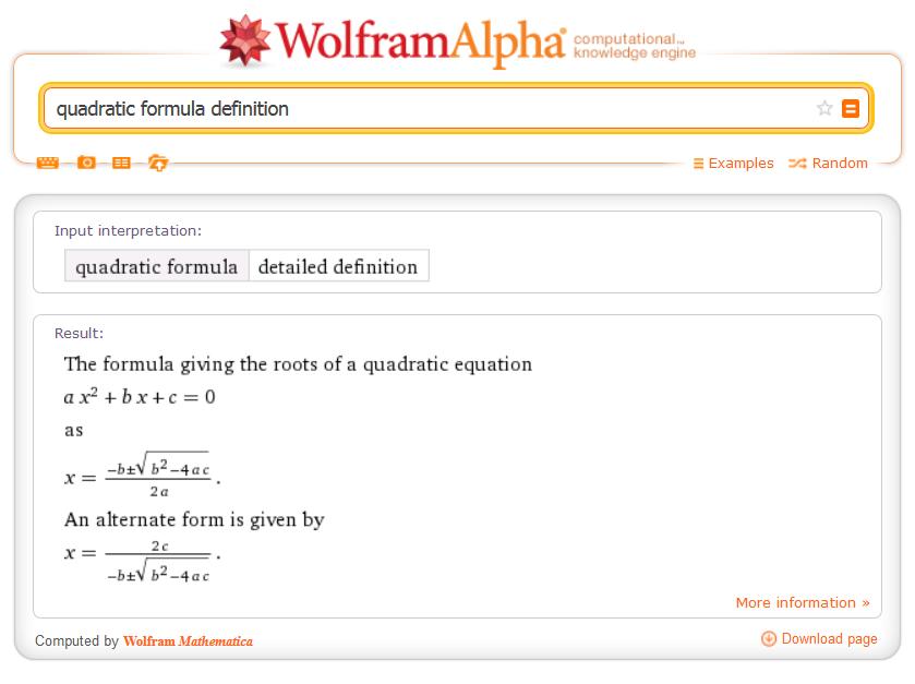 quadratic formula definition