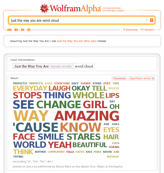 """""""Just The Way You Are"""" word cloud"""