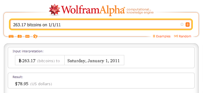 263.17 bitcoins on 1/1/11