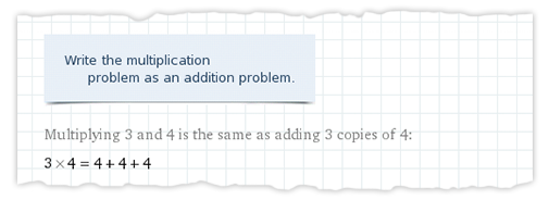 Multiplication as addition 3x4