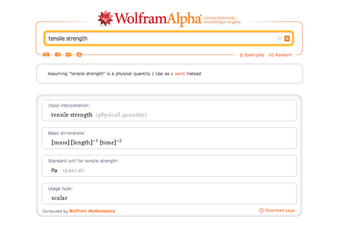 Tensile strength measurement in Wolfram|Alpha