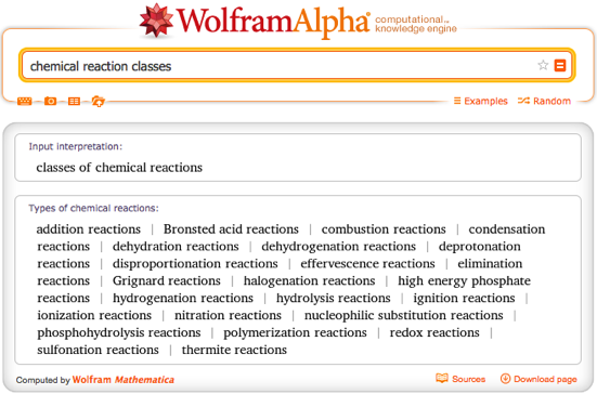 chemical reaction classes