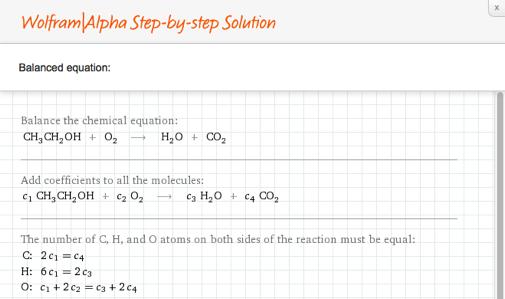 Step-by-step balanced equation