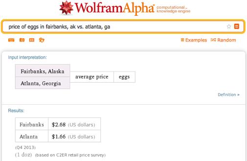 price of eggs in fairbanks, ak vs. atlanta, ga