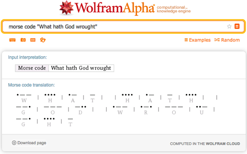 morse code: What hath God wrought