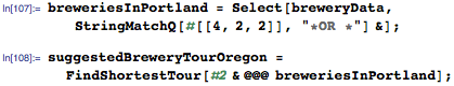 Calculate the shortest tour that visits all of Oregon's breweries