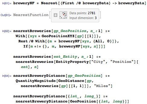Define functions to find the nearest brewery