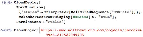 Deploy the function makeShortestTourDisplay