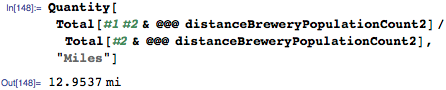 Nearest brewery 13.5 miles away for most US citizens