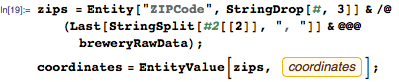 Resolve ZIP codes to actual lat/long coordinates using EntityValue function