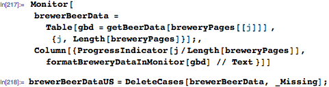 Process data for breweries