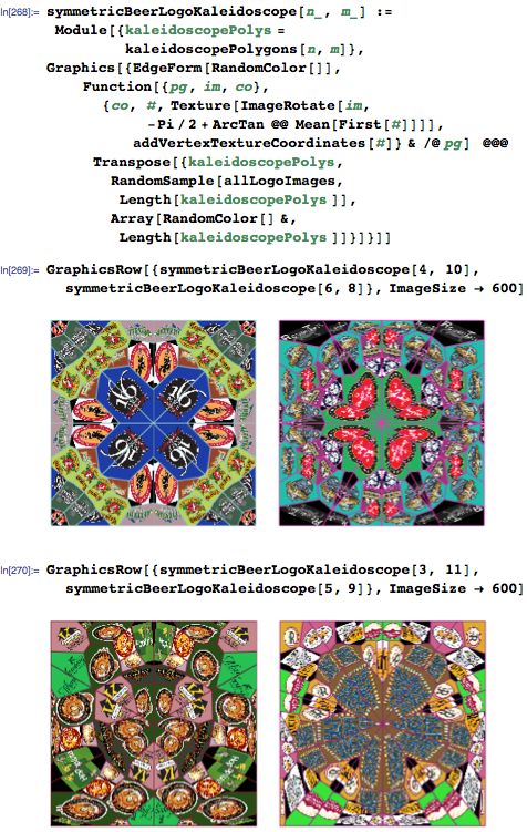 Four symmetric beer logo kaleidoscopes of different rotational symmetry orders