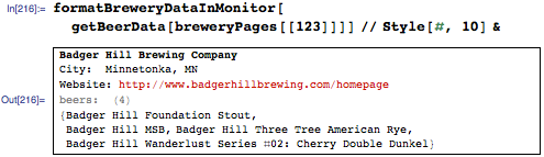 Breweries, beers, and a link to the brewery website