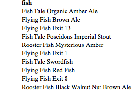 Beers with various mammals and fish in their name