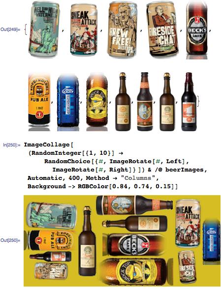 Beer bottle collage