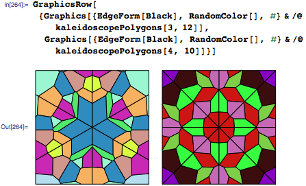 Two example sets of polygons with threefold and fourfold symmetry