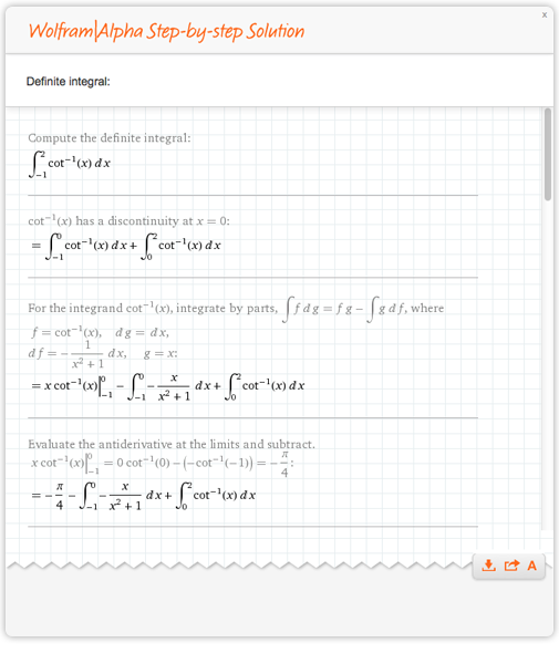Domain split and integral evaluated separately