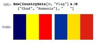 """In[6]:= CountryData[#, """"Flag""""] & /@ {""""Chad"""", """"Romania""""}"""