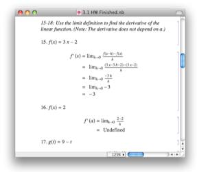 Student homework assignment in Mathematica
