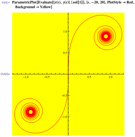 In[4]:= ParametricPlot[Evaluate[{x(s),y(s)}/.sol[[1]]],{s,-20,20},PlotStyle->Red,Background->Yellow]